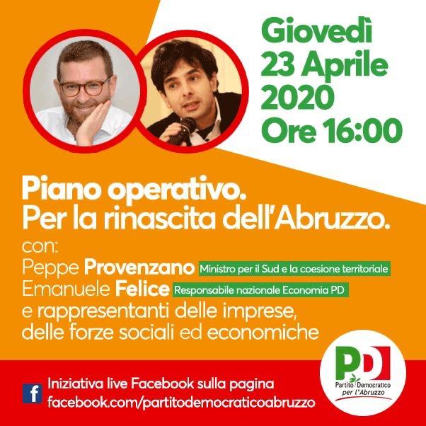 """""""Piano operativo. Per la rinascita dell'Abruzzo"""": incontro con Provenzano e Felice"""