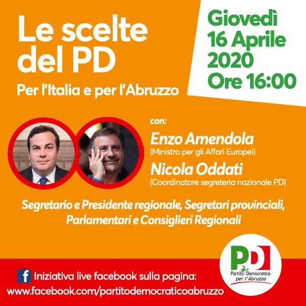 Domani l'iniziativa del PD Abruzzo in diretta Facebook con il ministro Amendola e Oddati