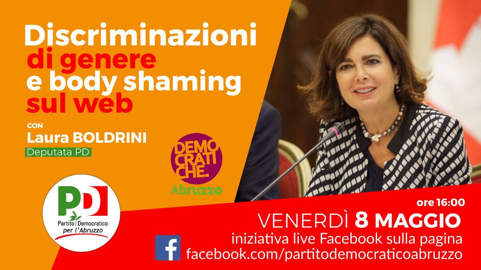 Venerdì 8 maggio Democratiche e PD Abruzzo in diretta con Laura Boldrini