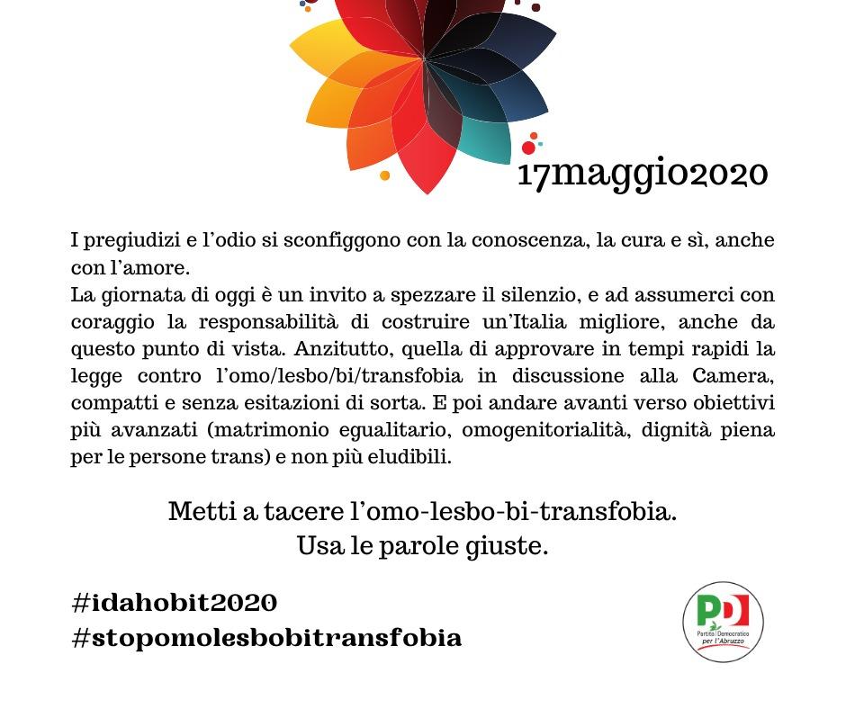 """Giornata internazionale contro l'omo-lesbo-bi-trans-fobia, il PD Abruzzo: """"La nostra battaglia di diritti e civiltà"""""""