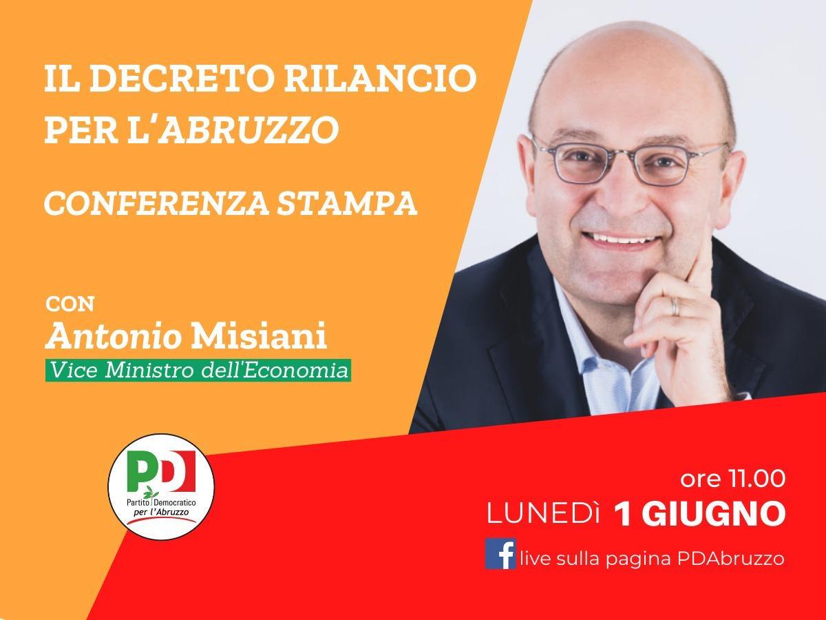 Il decreto rilancio per l'Abruzzo e i lavoratori della cultura, lunedì gli eventi del PD Abruzzo. Conferenza stampa con il viceministro Misiani