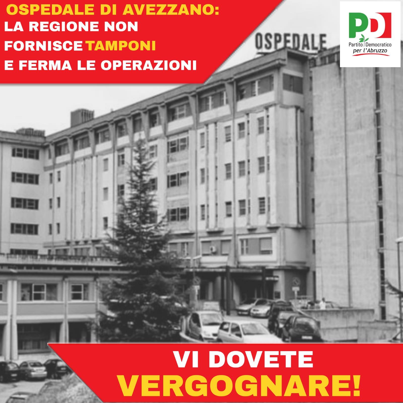 """Fina e Piacente: """"Porre rimedio alle difficoltà dell'ospedale di Avezzano per quanto riguarda l'obbligo di tamponi. Seguire la vertenza Celano. Occuparsi della sanità nella Marsica"""""""
