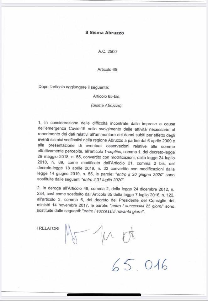 """Pezzopane: """"Emendamento importante per aziende terremoto 2009: proroga al 31 luglio per certificazione danni 2009"""""""