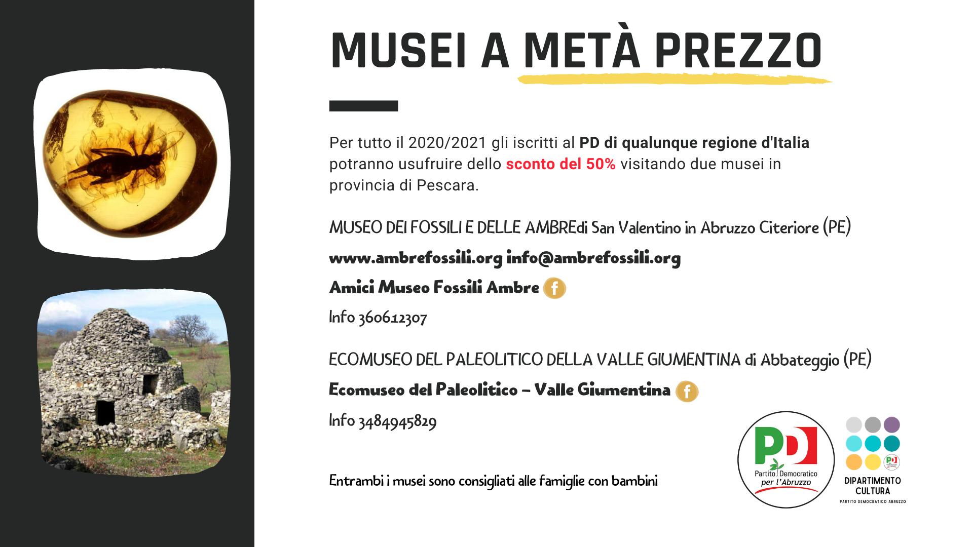 Musei e Studio, continuano le convenzioni del Dipartimento Cultura del PD Abruzzo