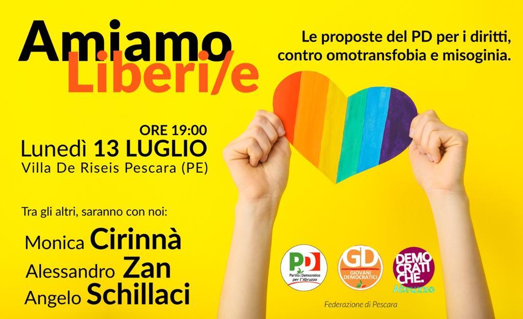 Amiamo Liberi/e: il 13 luglio la manifestazione a Pescara