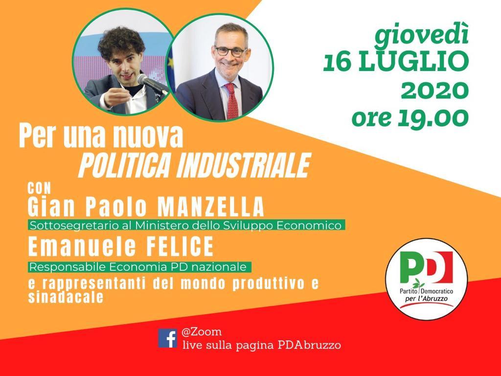 Per una nuova politica industriale: giovedì 16 luglio incontro con Manzella e Felice