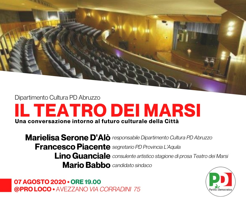Venerdì 7 agosto alle 19 ad Avezzano evento PD sulla cultura con Lino Guanciale