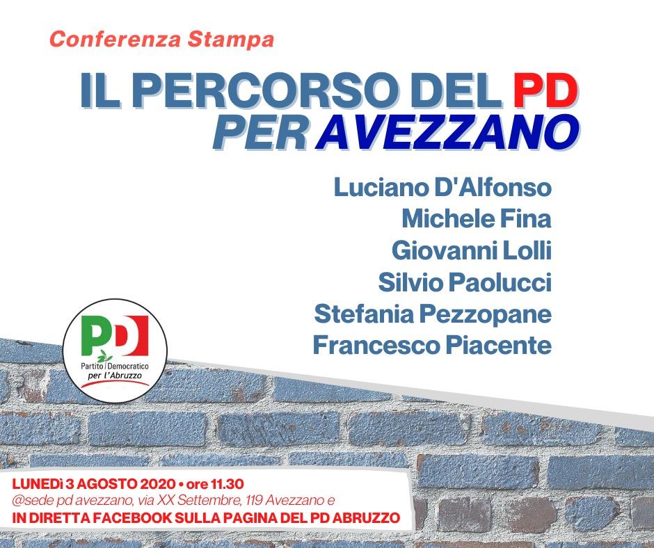 Il percorso del PD per Avezzano: lunedì 3 agosto la conferenza stampa