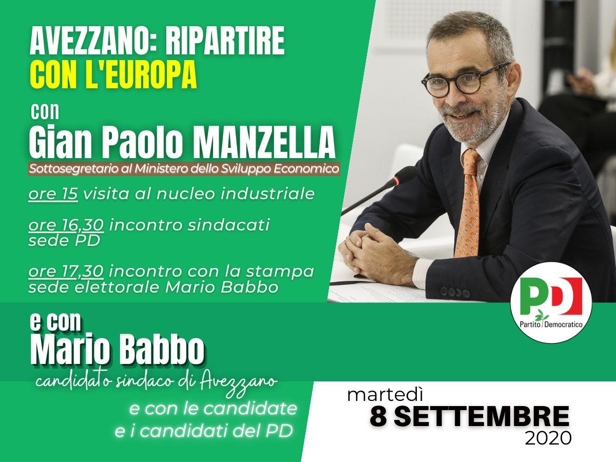 Domani martedì 8 settembre il sottosegretario Manzella ad Avezzano per Mario Babbo. Gli incontri