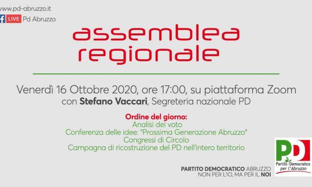 Venerdì 16 ottobre l'Assemblea regionale del pd. Discussione su prossima generazione abruzzo