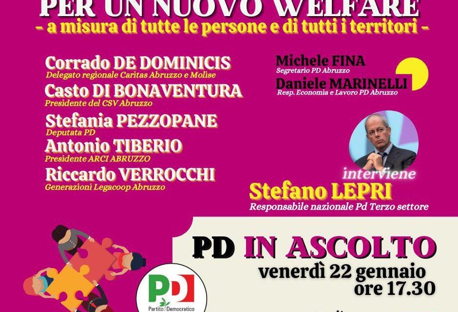 PD Abruzzo in ascolto, venerdì 22 gennaio il quarto incontro del ciclo è su welfare e terzo settore