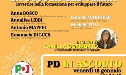 PD Abruzzo in ascolto, venerdì 15 gennaio il terzo incontro del ciclo è sulla scuola
