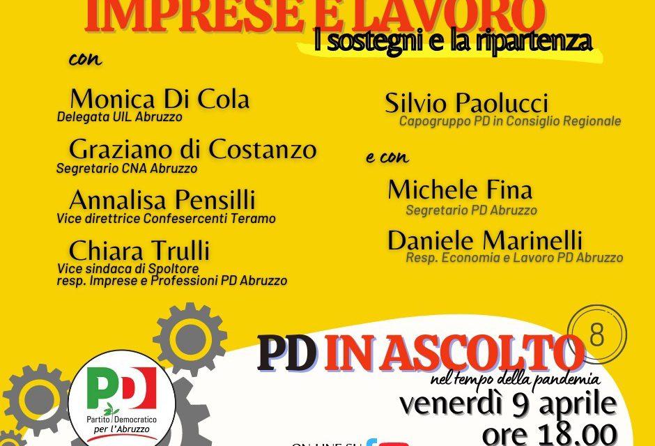 Pd Abruzzo in ascolto: venerdì 9 aprile incontro su imprese e lavoro