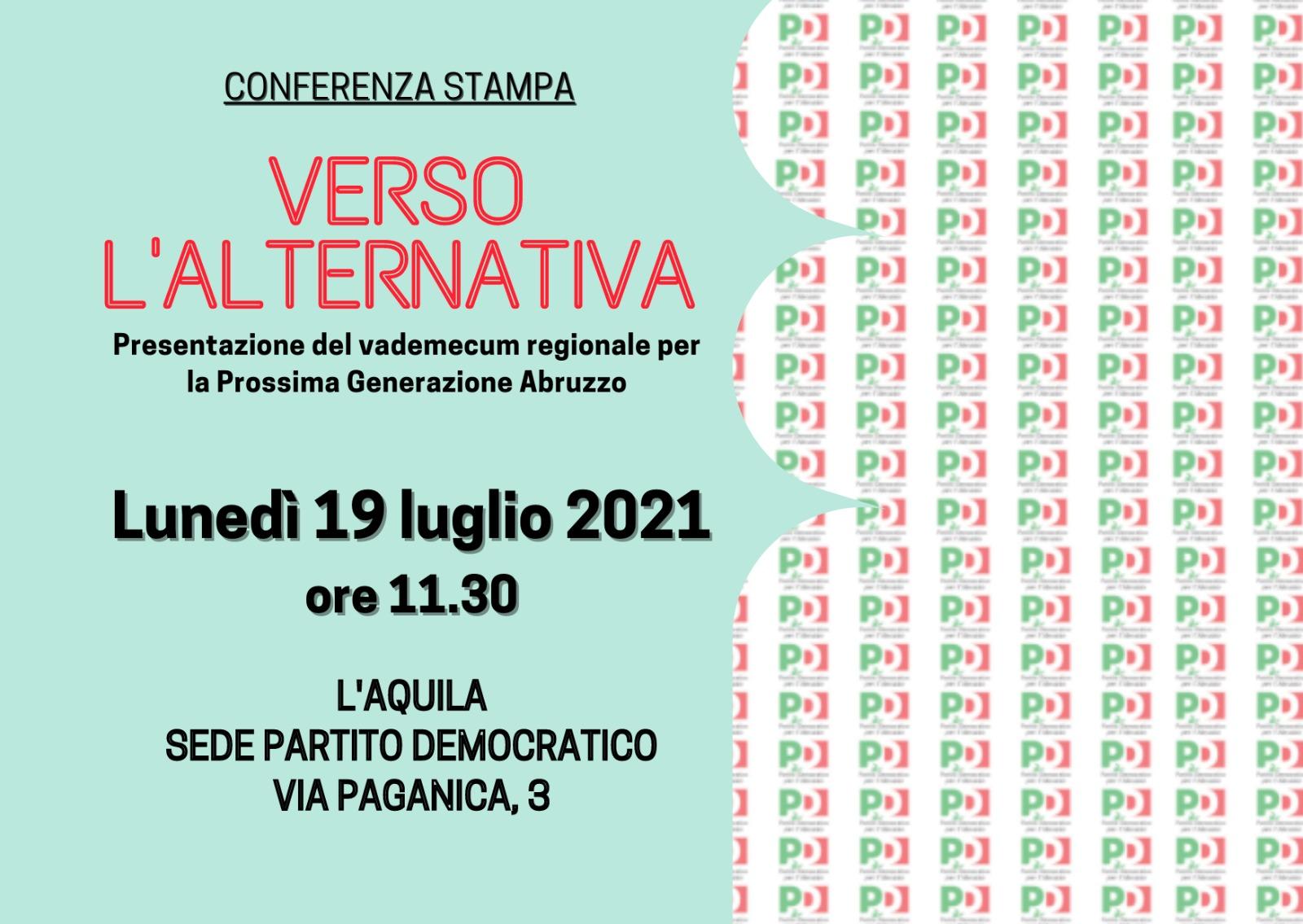 Verso l'alternativa: il 19 luglio all'Aquila la conferenza stampa del PD Abruzzo
