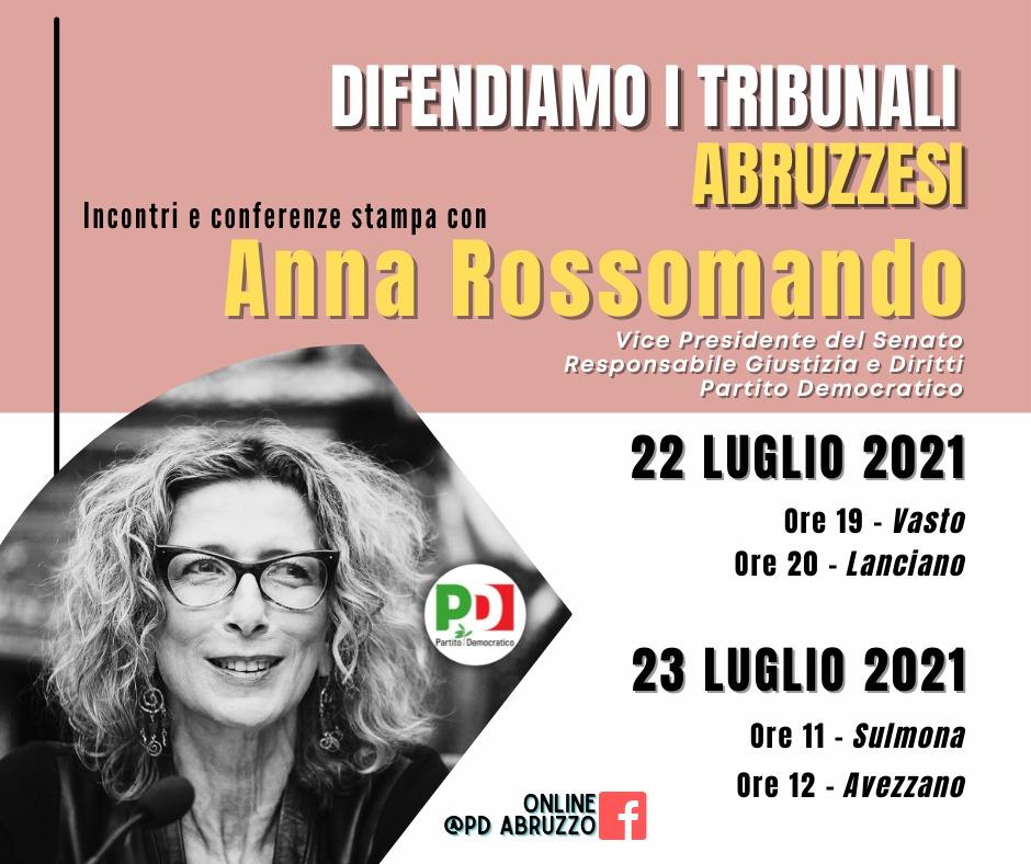 Difendiamo i tribunali abruzzesi: Il 22 e 23 luglio gli incontri con Anna Rossomando