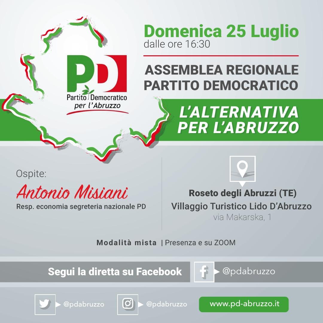 Domenica 25 luglio l'Assemblea del PD Abruzzo con Antonio Misiani. Le personalità del Comitato per le idee che contribuiranno all'alternativa