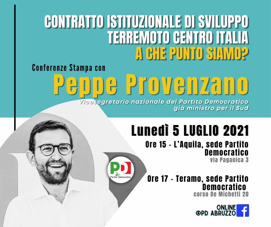 Lunedì 5 luglio conferenze stampa del vicesegretario del PD Giuseppe Provenzano all'Aquila e a Teramo