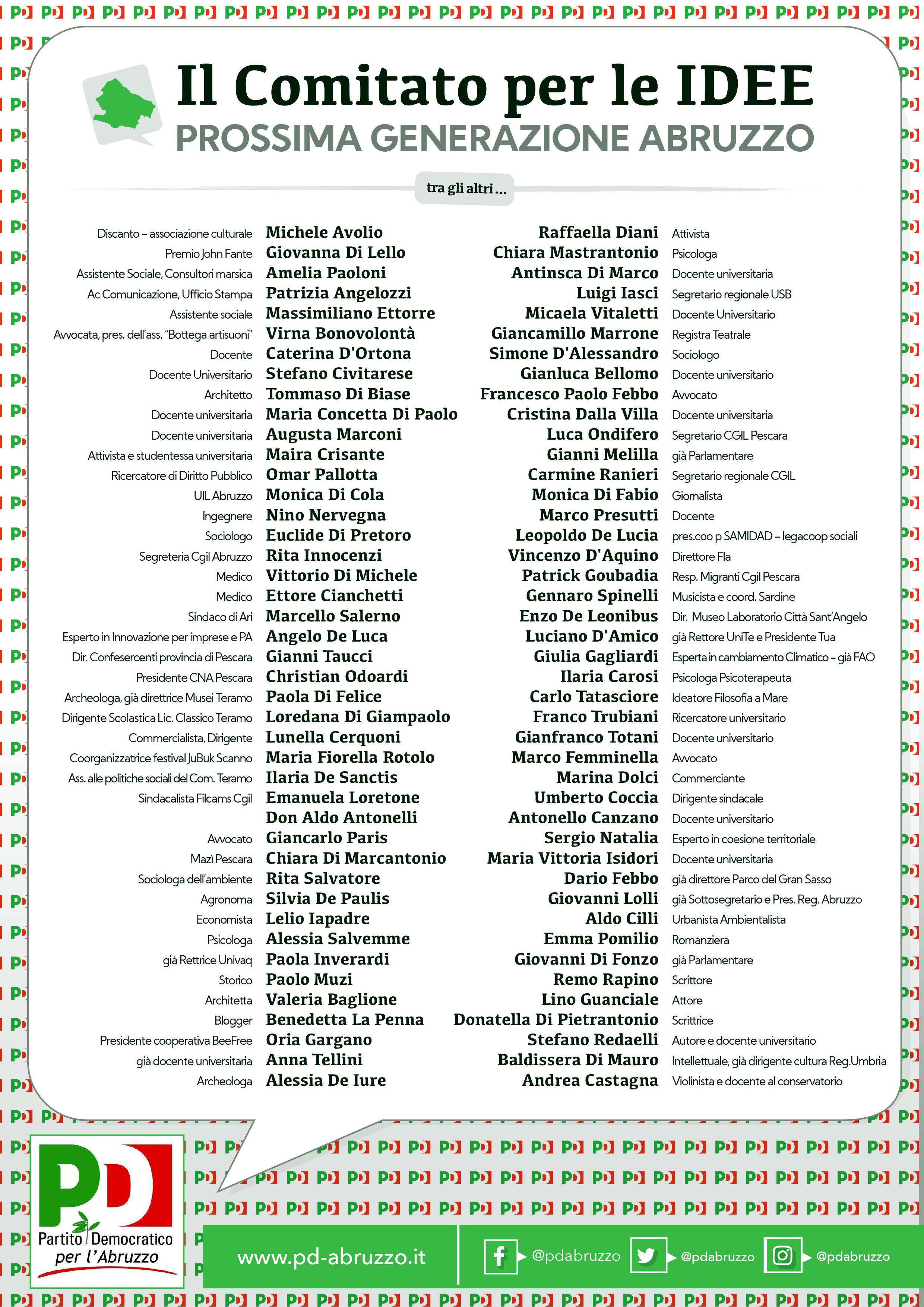 Ecco il Comitato per le idee del PD Abruzzo, 85 personalità quasi tutte esterne per il confronto sulle proposte. Ci sono gli scrittori Di Pietrantonio, Rapino e Pomilio, i sindacalisti Coccia, Ranieri e Goubadia, l'ex Rettrice Inverardi, il referente delle Sardine Spinelli