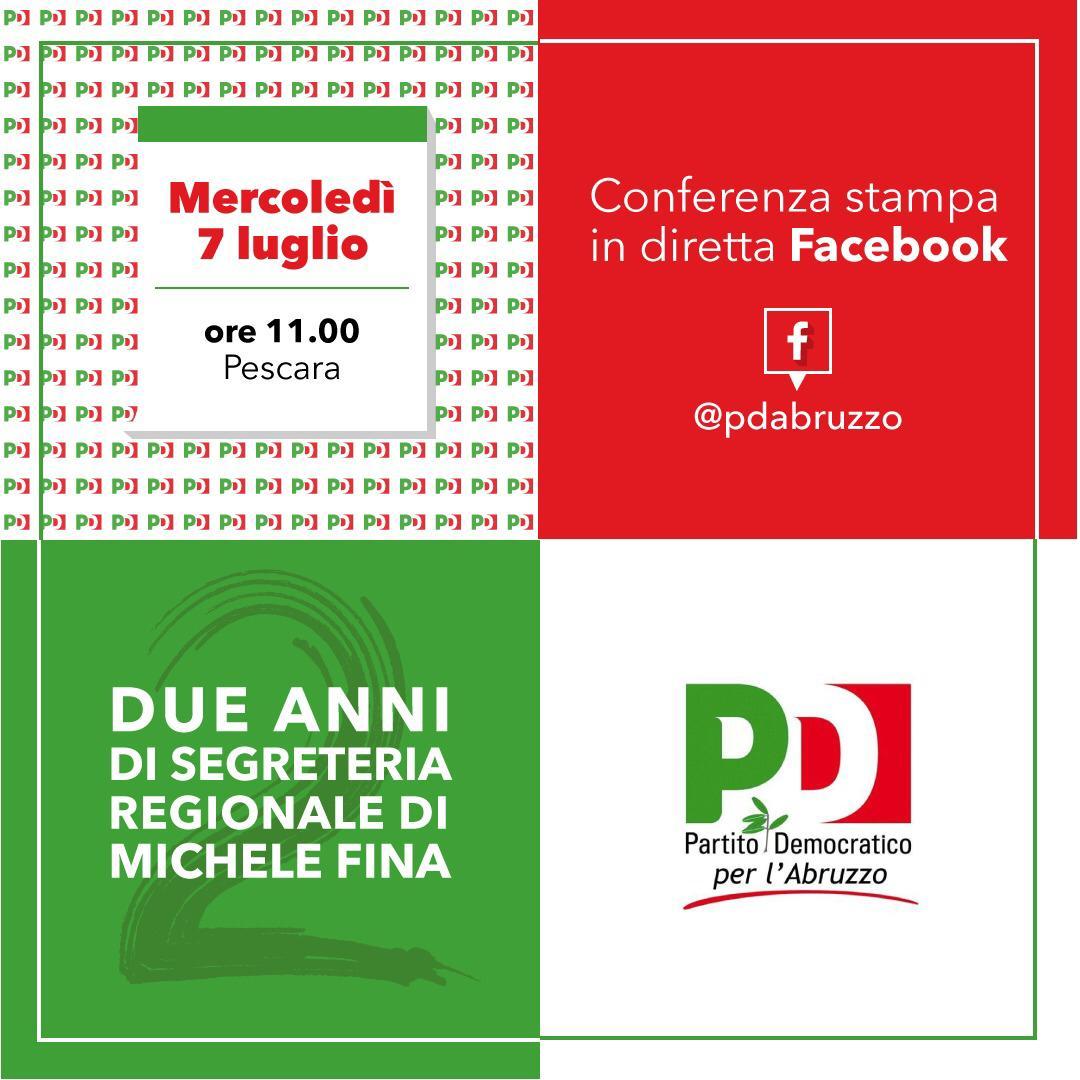 Due anni di segreteria regionale del Partito Democratico abruzzese, domani mercoledì 7 luglio la conferenza stampa