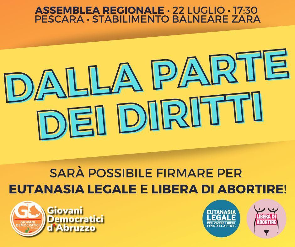 Dalla parte dei diritti: il 22 luglio a Pescara l'Assemblea regionale dei Giovani Democratici