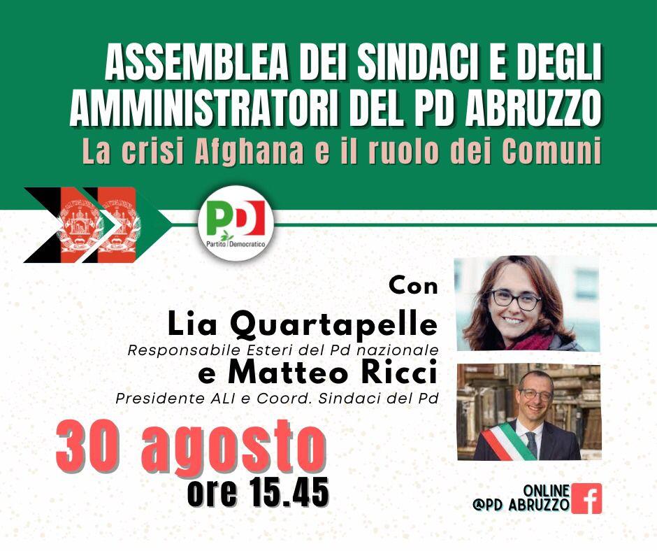 La crisi afghana e il ruolo dei Comuni: il 30 agosto l'Assemblea dei sindaci e degli amministratori del Pd Abruzzo