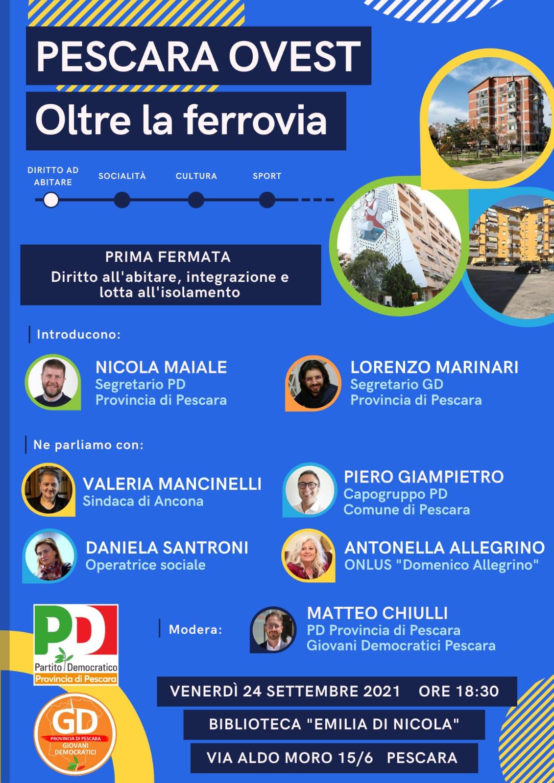 """Il 24 settembre l'iniziativa """"Pescara Ovest – Oltre la ferrovia""""  con la Sindaca di Ancona"""