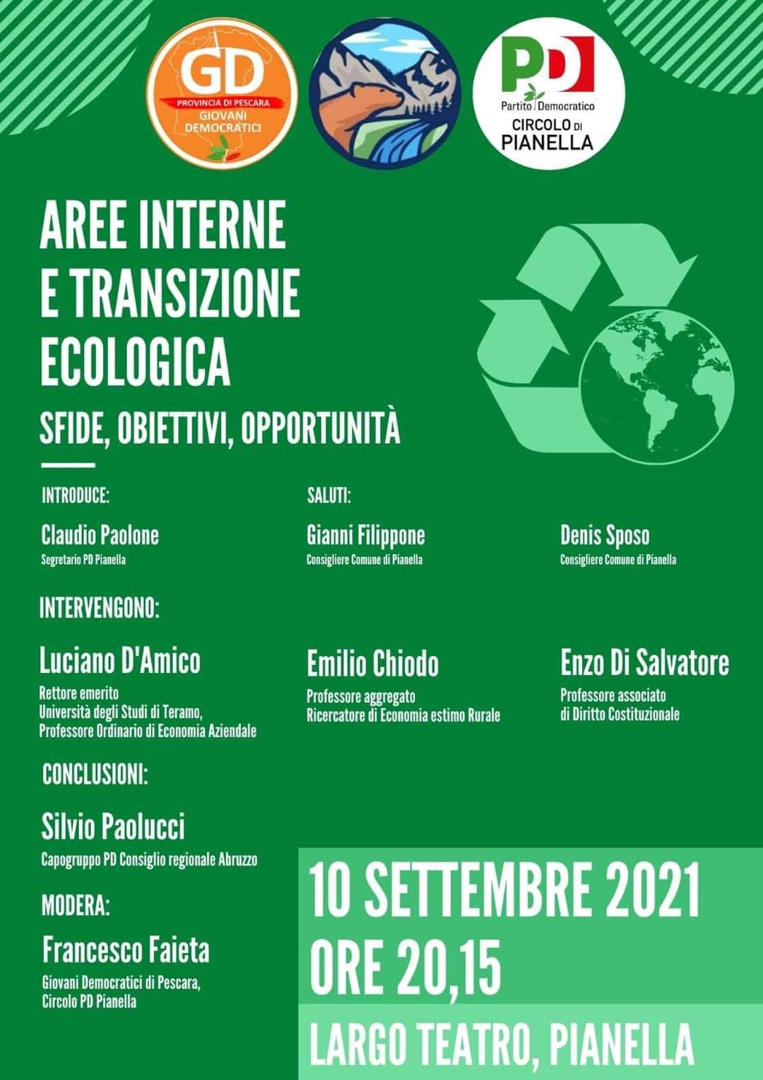 Pianella, venerdì 10 settembre dibattito su Aree Interne e Transizione Ecologica