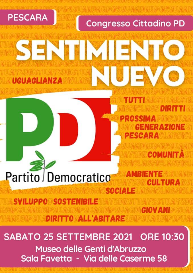 Il 25 settembre il Congresso dell'Unione Comunale del Pd di Pescara