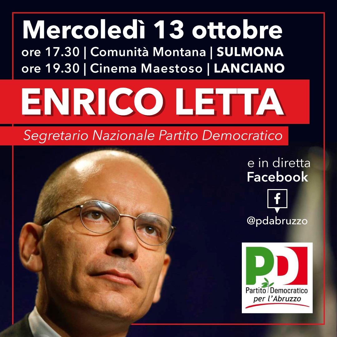 Mercoledì 13 ottobre il segretario nazionale del Pd Letta a Sulmona e Lanciano