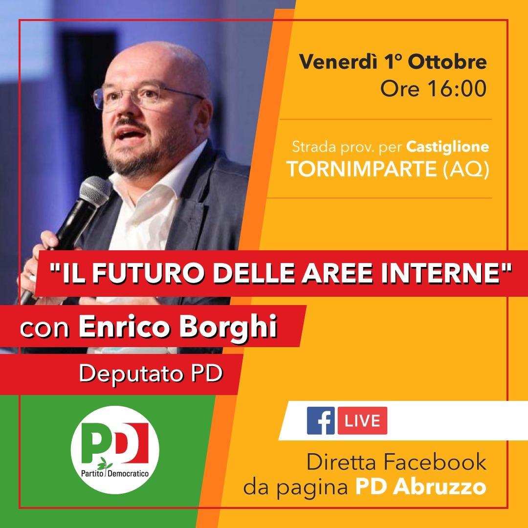 Il futuro delle aree interne: venerdì 1° ottobre Enrico Borghi a Tornimparte