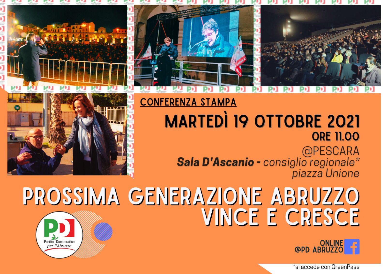 """Ballottaggi, Fina: """"Ha vinto con il Centrosinistra la Prossima Generazione Abruzzo, con la concretezza delle idee di città. Avviso di sfratto per Marsilio. Idea di Pd come Agorà inclusiva di Letta è la giusta chiave"""""""