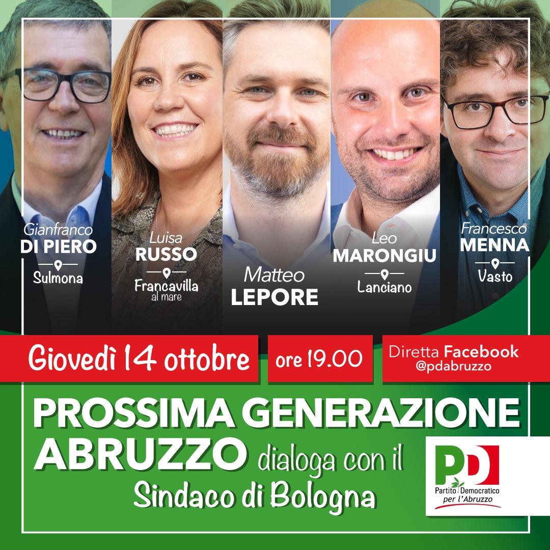 Il 14 ottobre i candidati sindaci del centrosinistra in Abruzzo a confronto con l'appena eletto primo cittadino di Bologna