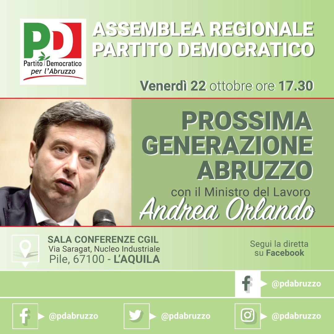 """Il 22 ottobre all'Aquila Assemblea del Pd Abruzzo con il ministro Orlando. Il segretario Fina: """"Passaggio importante"""""""