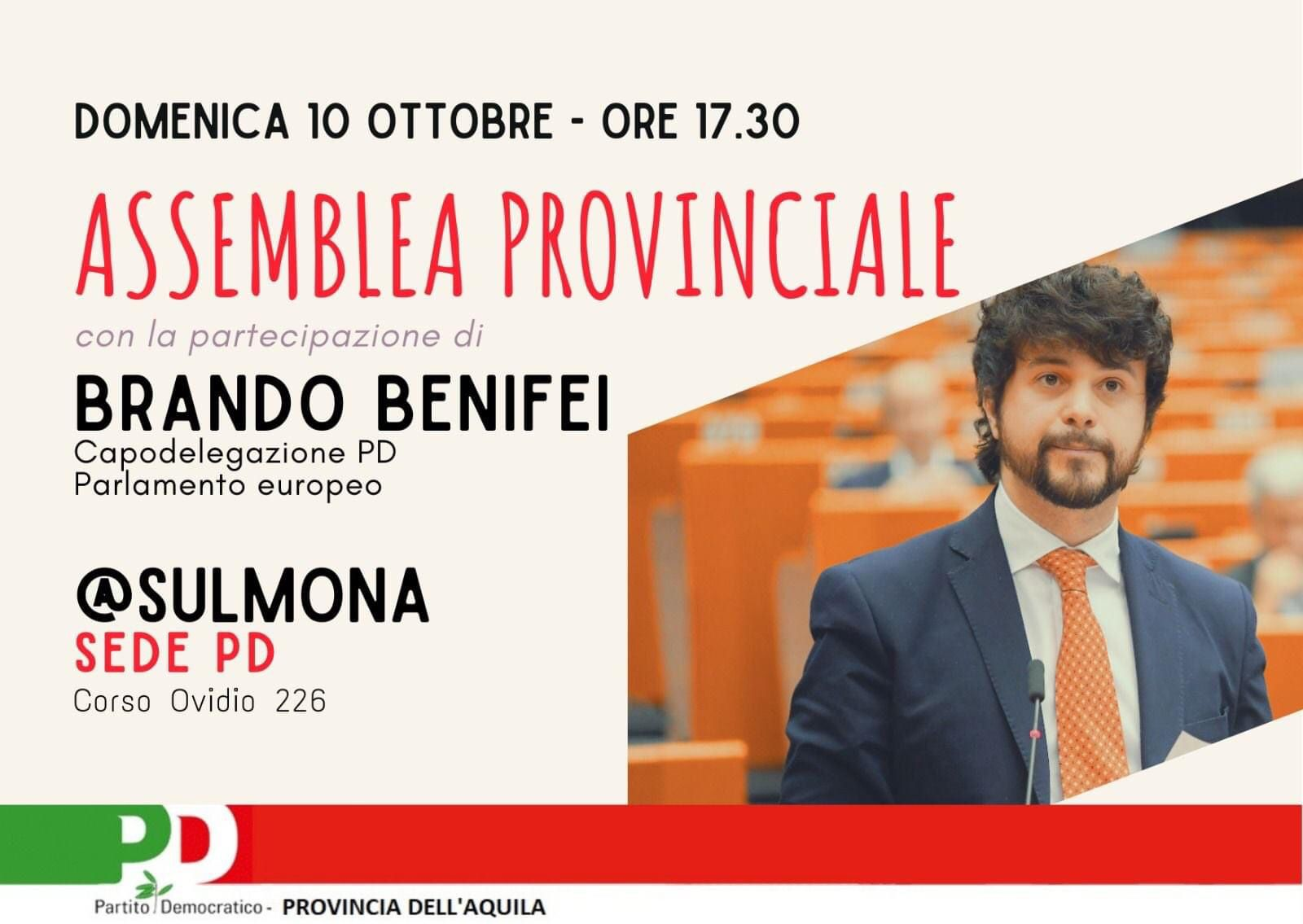 Il 10 ottobre a Sulmona Assemblea del PD provinciale dell'Aquila con Brando Benifei