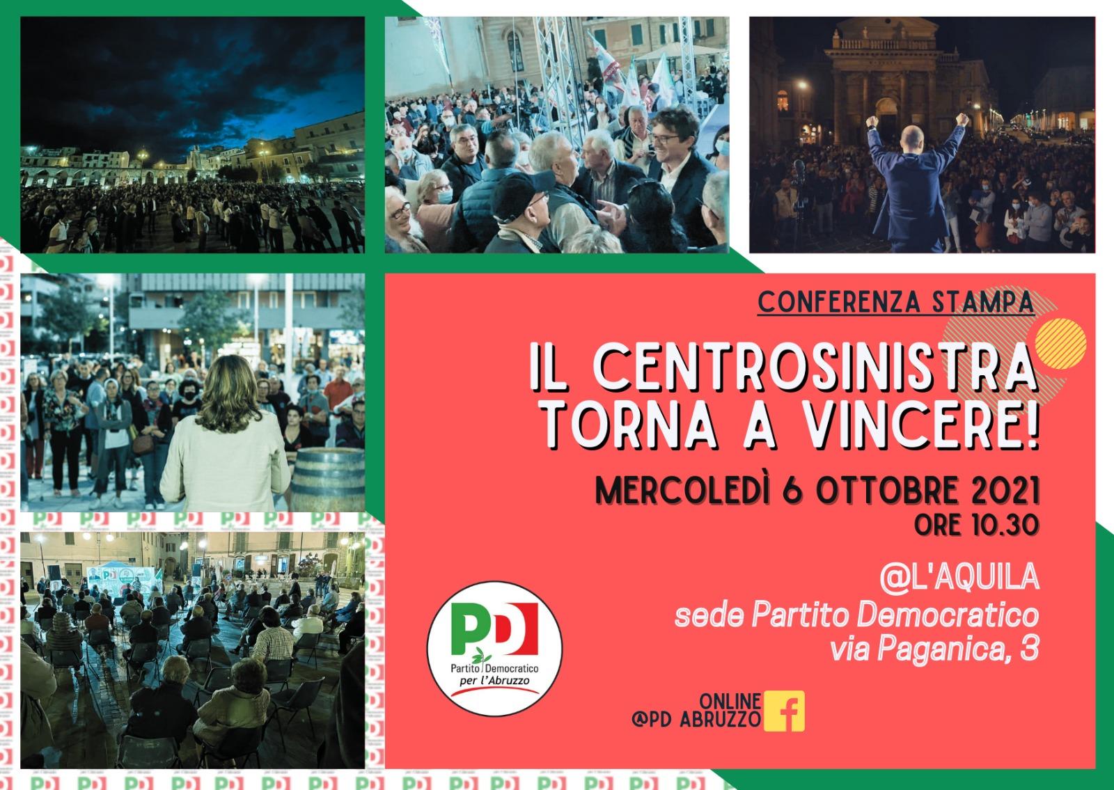Amministrative, mercoledì 6 ottobre la conferenza stampa del PD Abruzzo